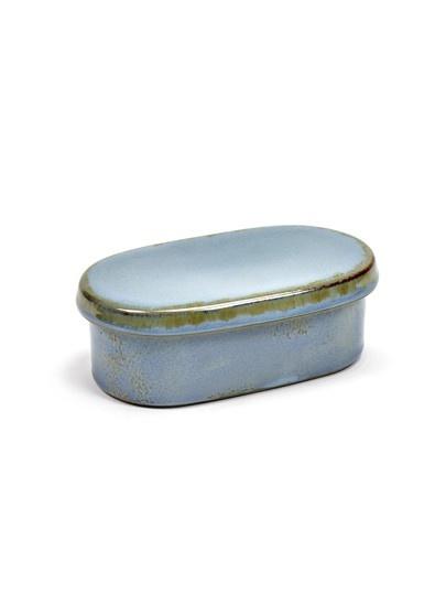 "6"" Ceramic Oval Butter Dish - Smokey Blue-2"