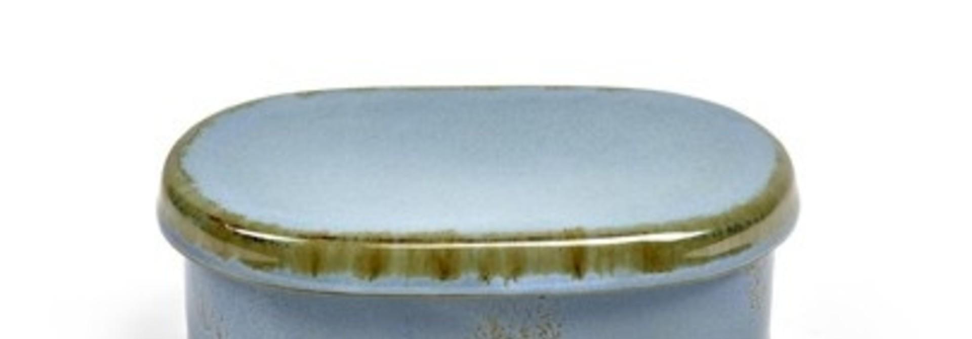 "6"" Ceramic Oval Butter Dish - Smokey Blue"