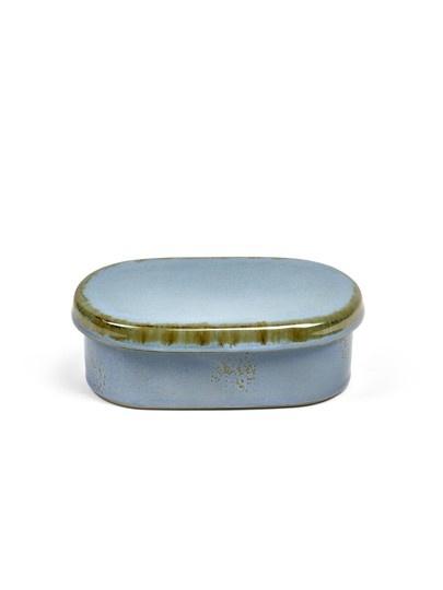 "6"" Ceramic Oval Butter Dish - Smokey Blue-1"