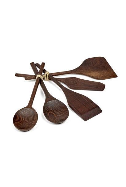 5pc. Kitchen Tool Set - Dark Wood