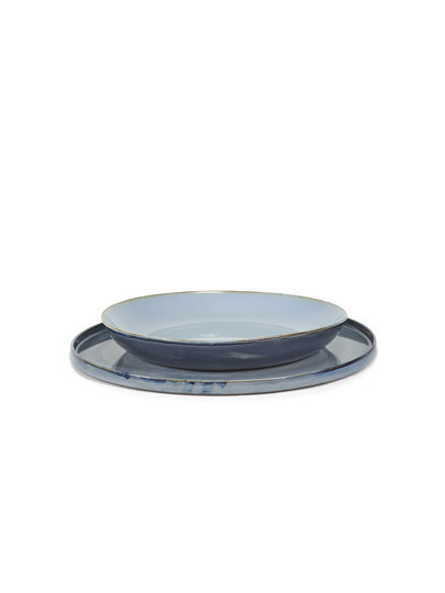 "14"" Ceramic Round Tray - Blue-2"