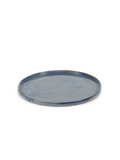 "14"" Ceramic Round Tray - Blue-1"