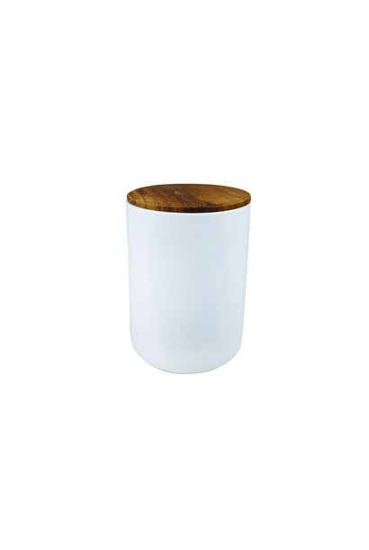 White Stoneware Container with Acacia Lid - Extra Large