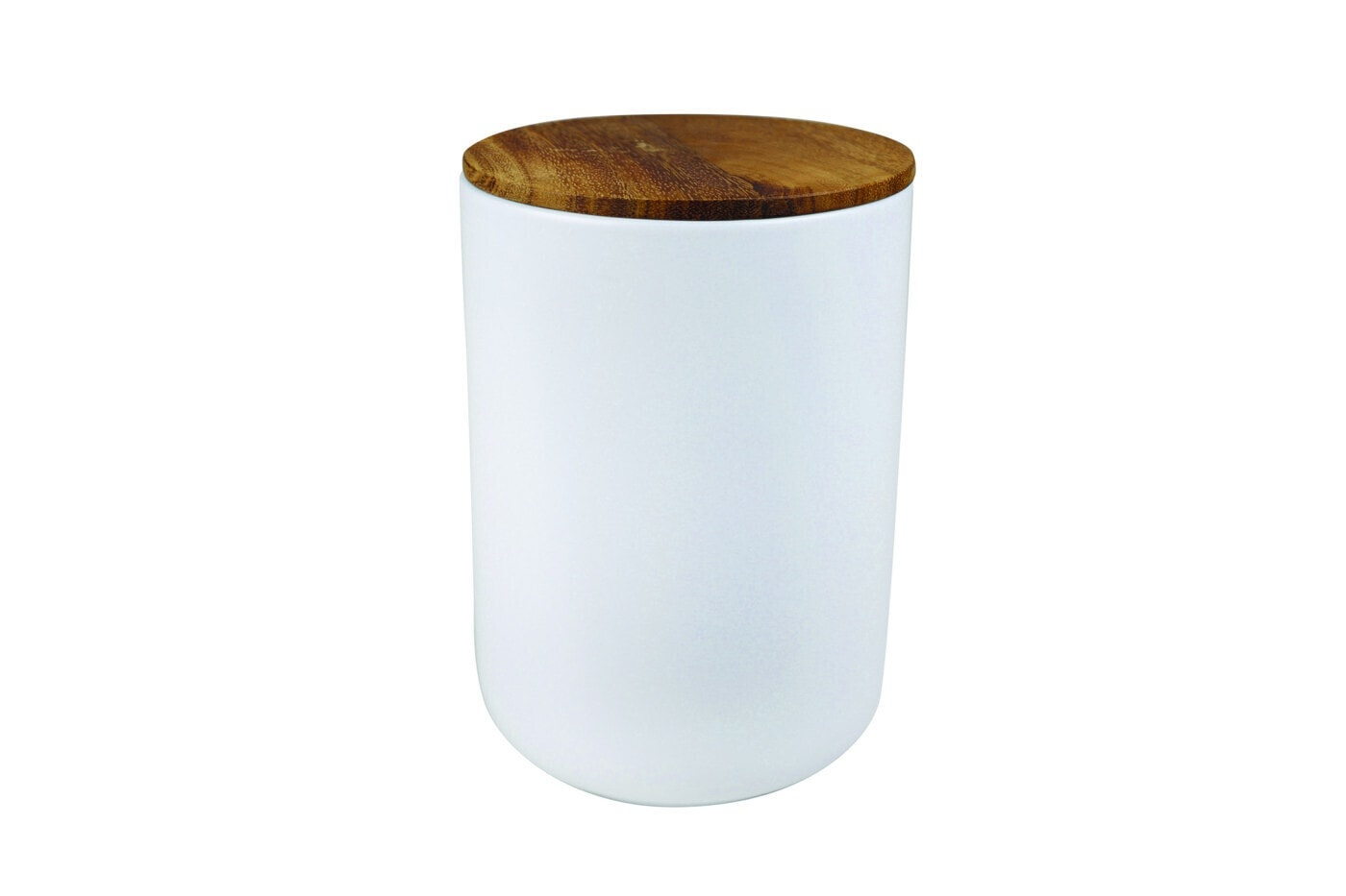 White Stoneware Container with Acacia Lid - Extra Large-1