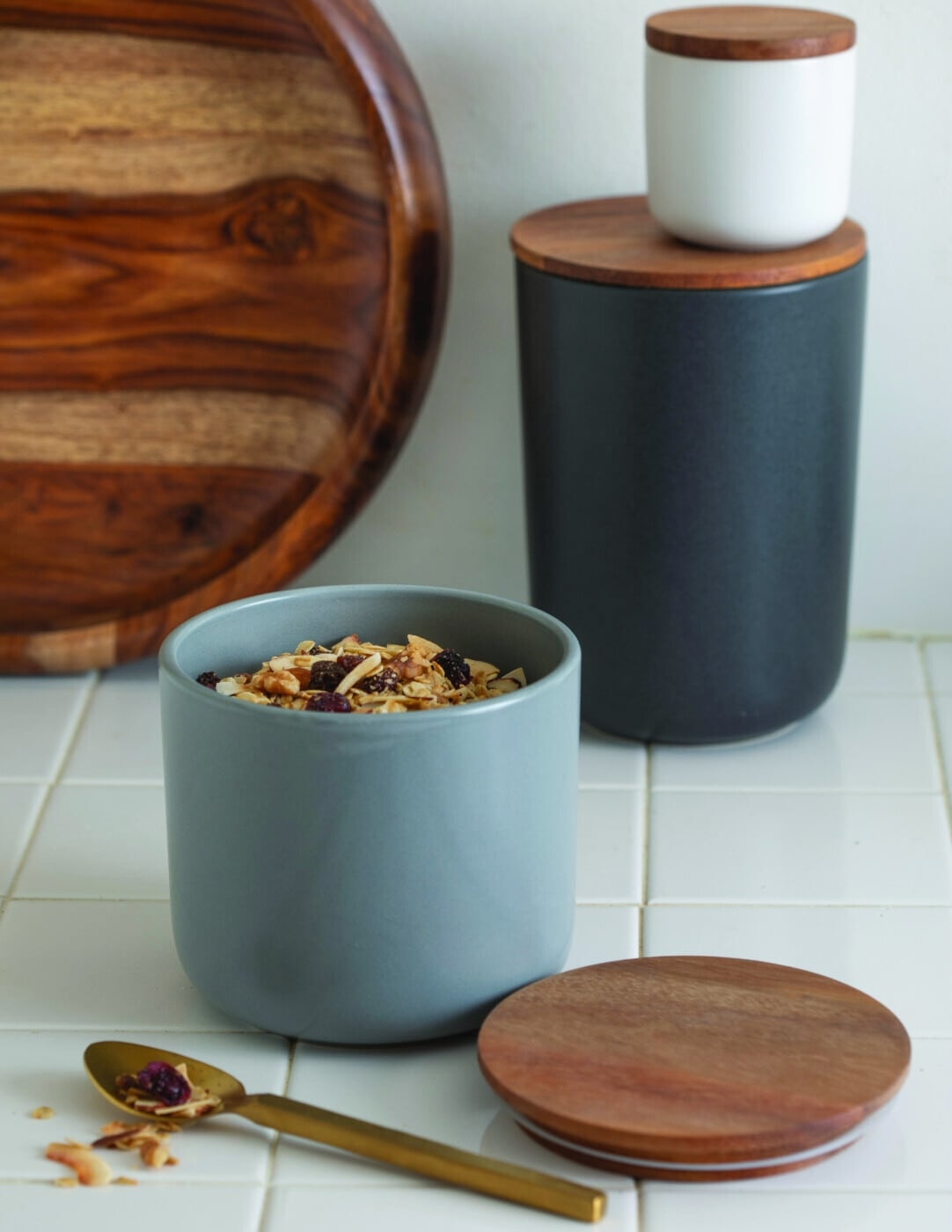 Black Stoneware Container with Acacia Lid - Extra Small-3