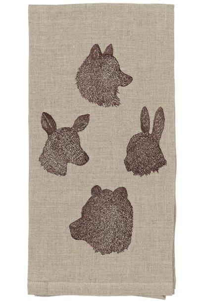 Silhouette Fox, Bunny, Bear & Deer Tea Towel