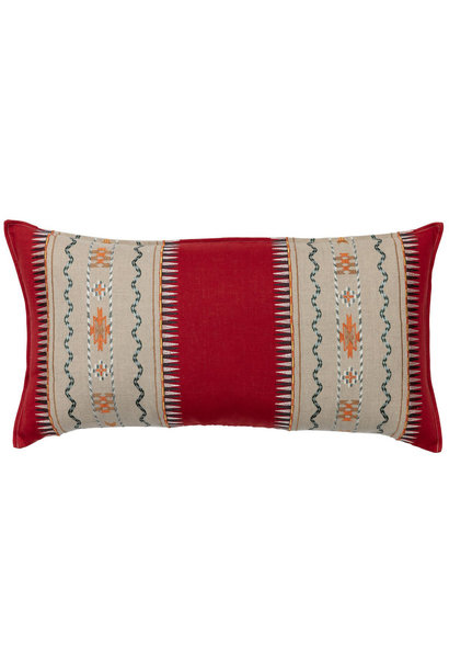 Sawtooth Stripe Appliqué Red Cushion