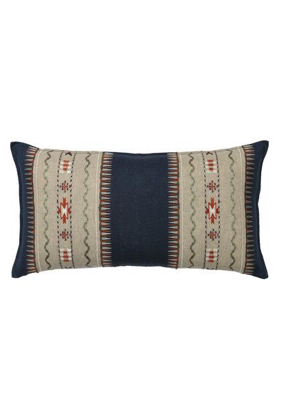 Sawtooth Stripe Appliqué Navy Cushion
