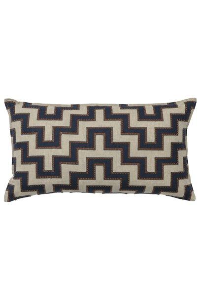 Aqueduct Appliqué Navy Cushion