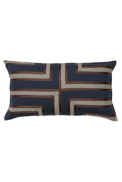 Labyrinth Appliqué Navy Cushion