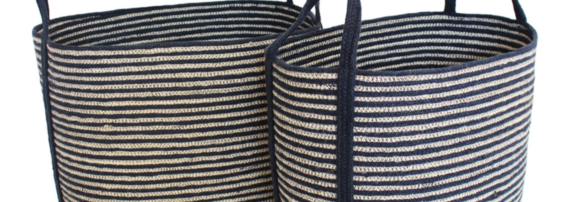 Jute Oval Tote Laundry Basket - Large