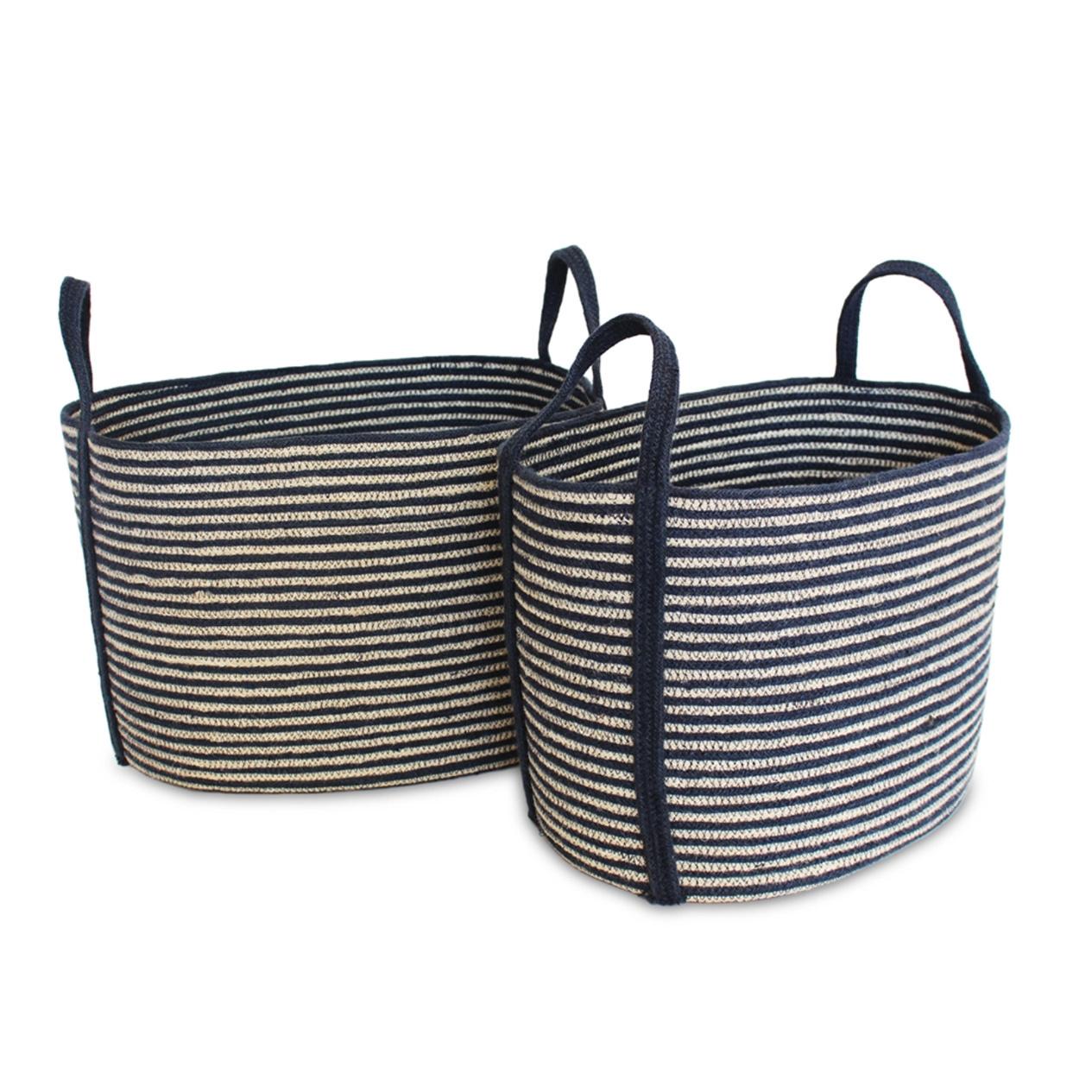 Jute Oval Tote Laundry Basket - Large-1