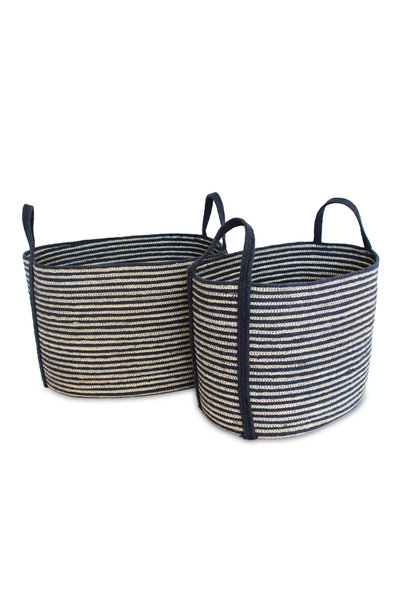 Jute Oval Tote Laundry Basket - Medium
