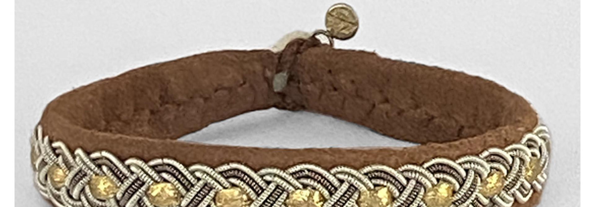 Sami Bracelet Bendicta Nut Suede/Gold