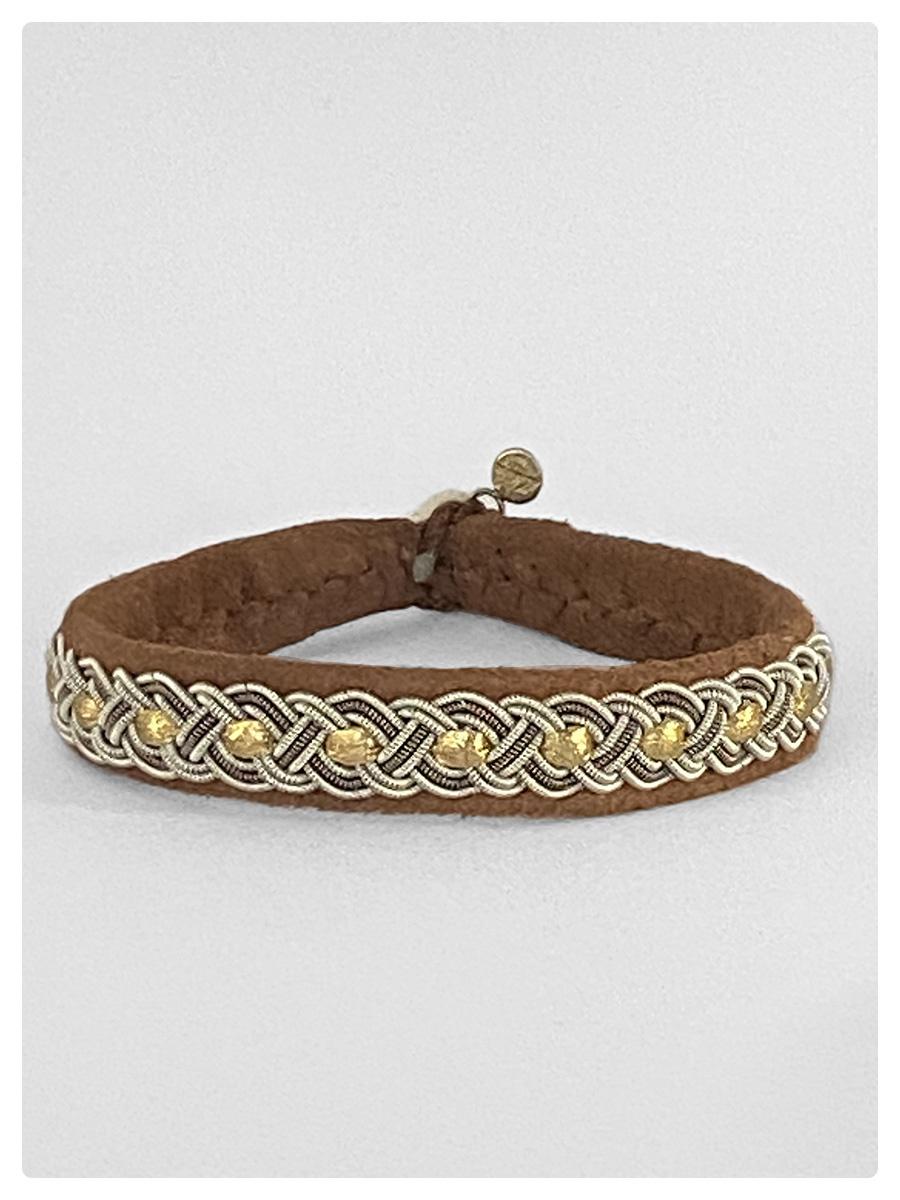 Sami Bracelet Bendicta Nut Suede/Gold-1