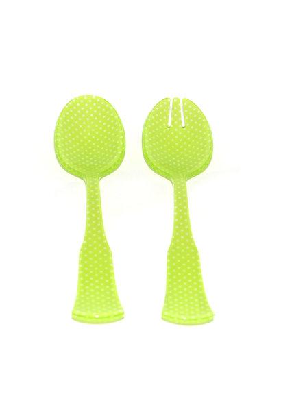 2 pc Salad Set Lg - Lime Green Dot