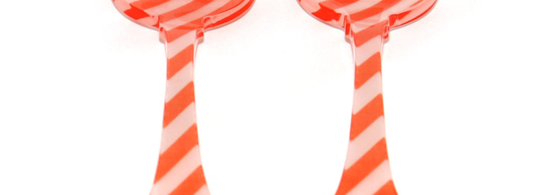 2 Pc Salad Set Sm - Orange Stripe