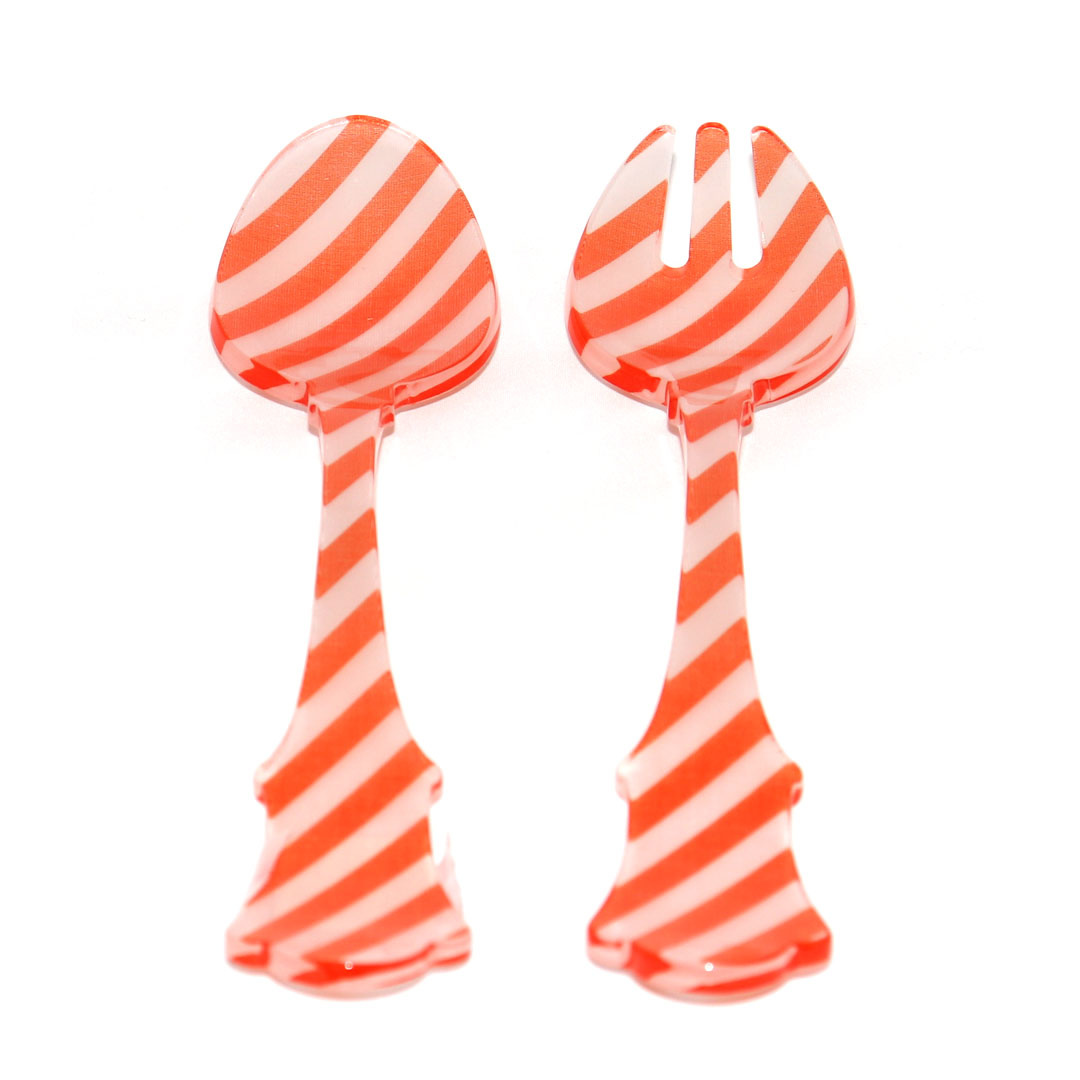 2 Pc Salad Set Sm - Orange Stripe-1