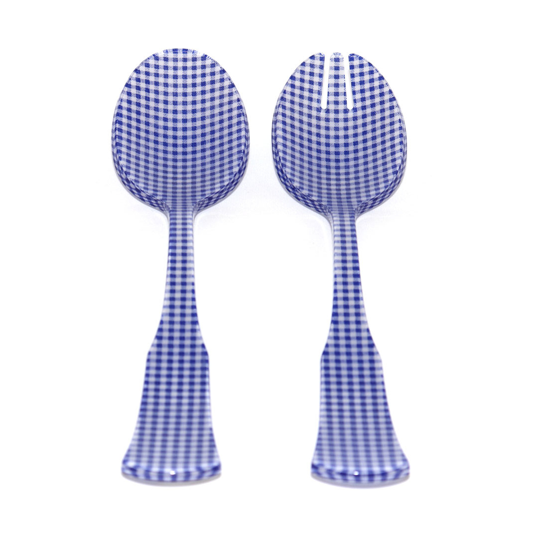 2 pc Salad Set Lg - Blue Vichy-1