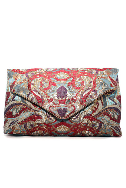 Jacquard Blue Clutch