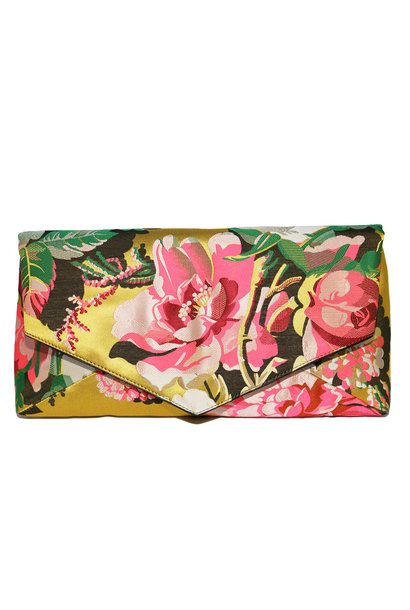 Floral Jacquard Gold/Pink Clutch Lg