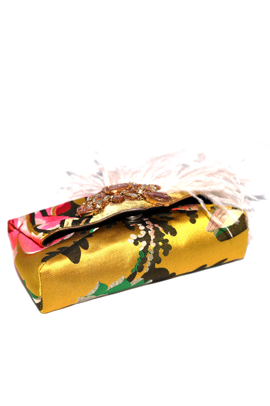 Floral Jacquard Feather & Crystal Clutch-2