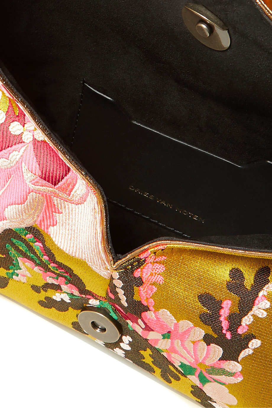 Floral Jacquard Feather & Crystal Clutch-3