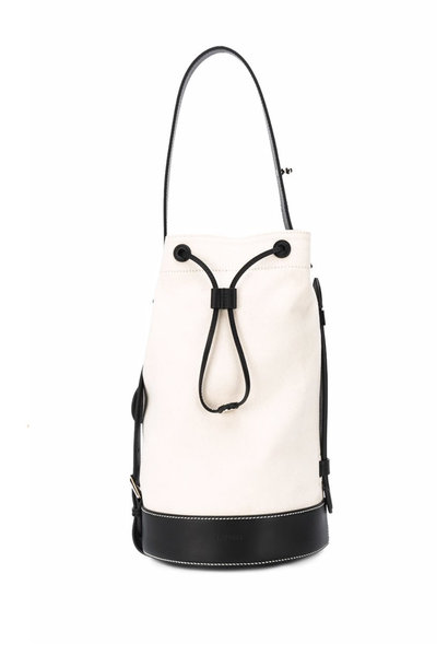 White & Black Drawstring Tote