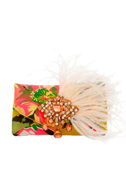 Floral Jacquard Feather & Crystal Clutch