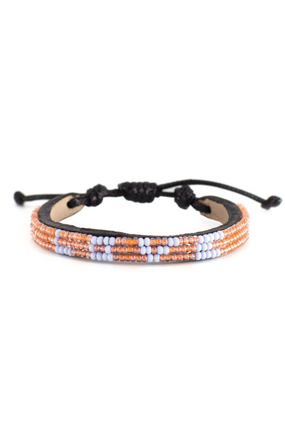 3 row LOVE Bracelet Peach/lt.Blue