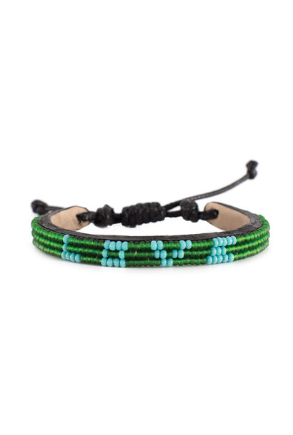 3 row LOVE Bracelet Green/lt.Blue