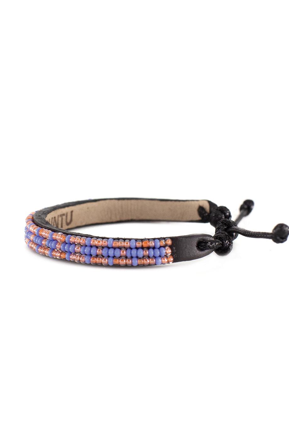 3 row Msalaba Bracelet Pearl/Periwinkle-2