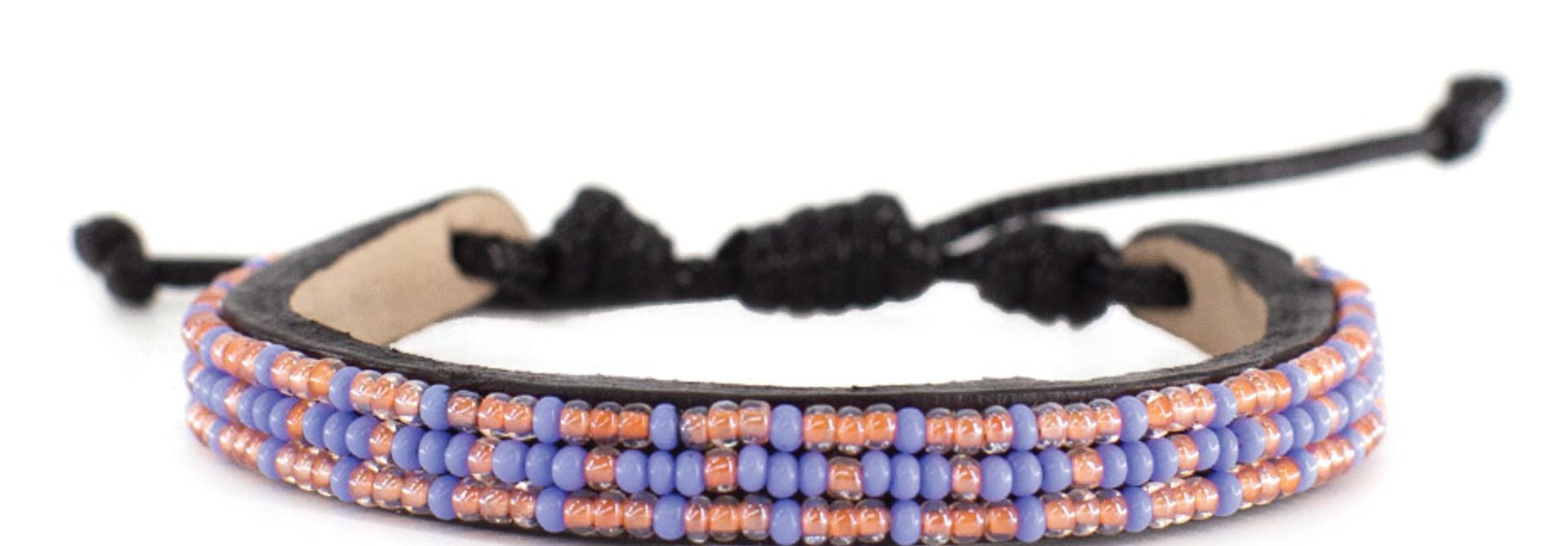 3 row Msalaba Bracelet Pearl/Periwinkle