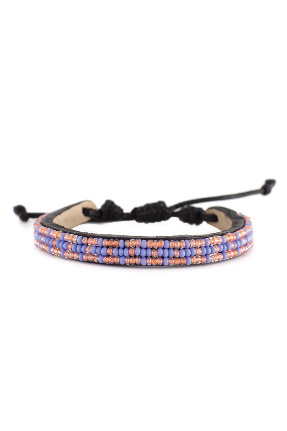 3 row Msalaba Bracelet Pearl/Periwinkle-1