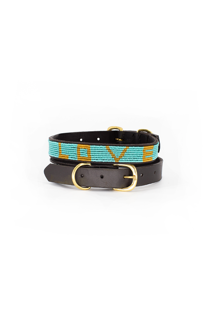 Pet Collar LOVE Teal Small