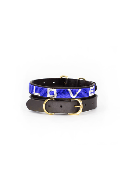 Pet Collar LOVE Cobalt Small