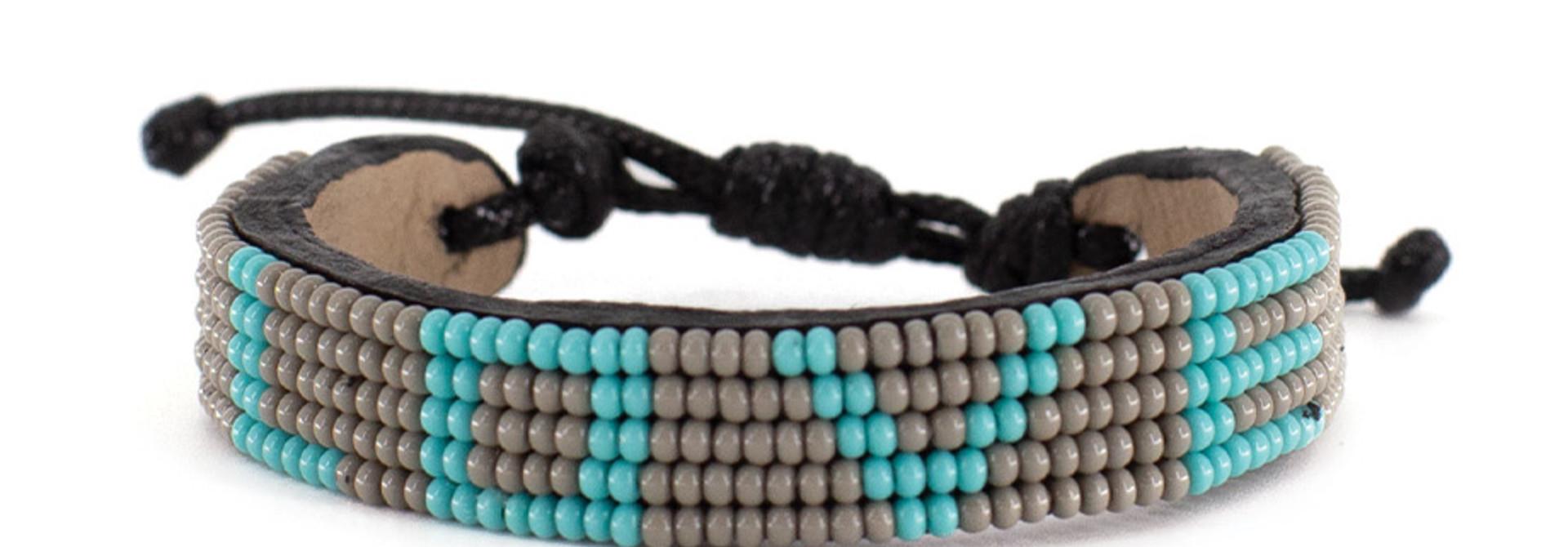 5 row LOVE Bracelet Grey/Turquoise
