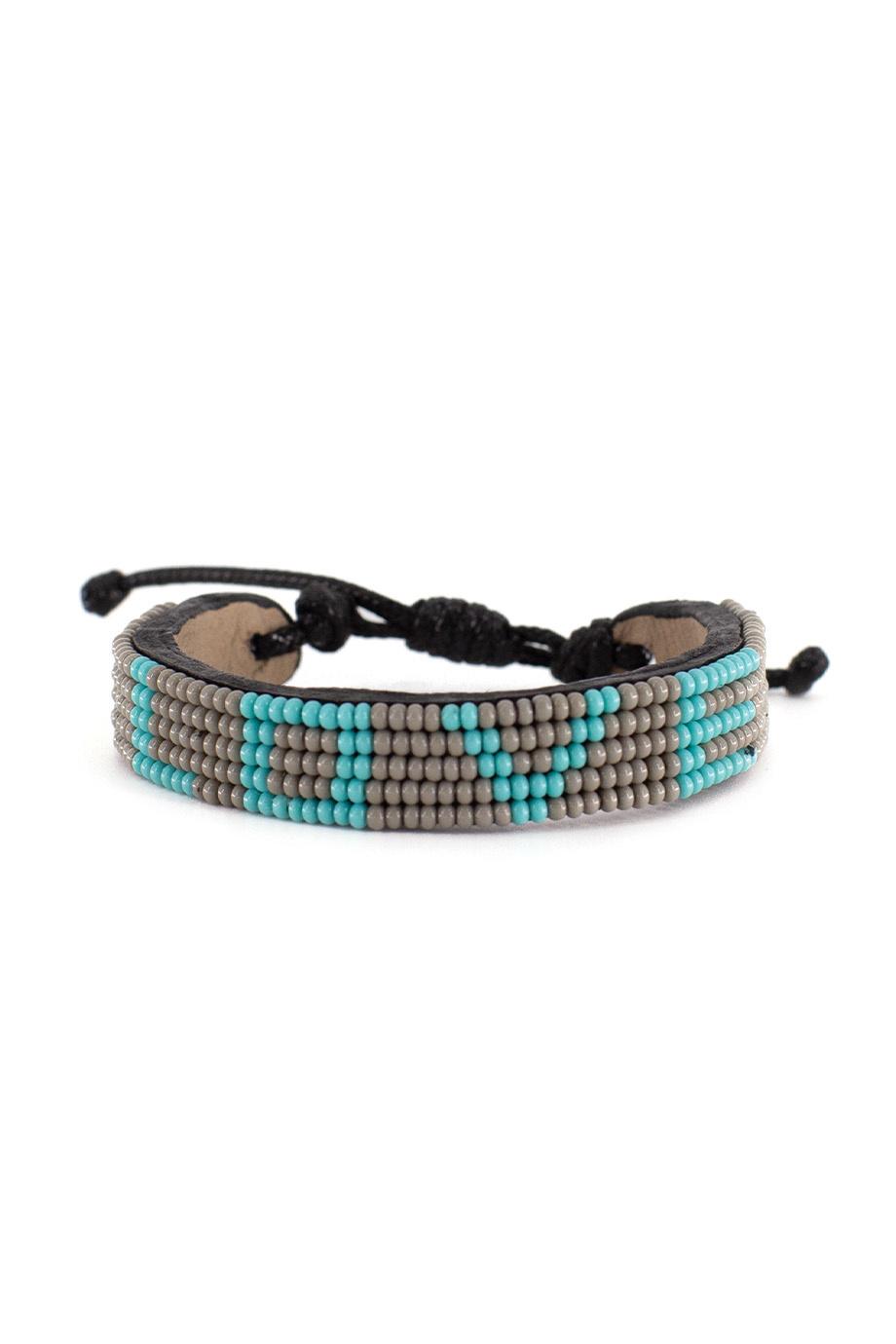 5 row LOVE Bracelet Grey/Turquoise-1