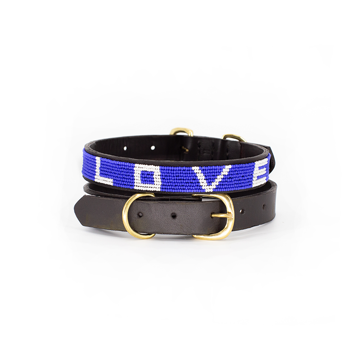 Pet Collar LOVE Cobalt Medium-1