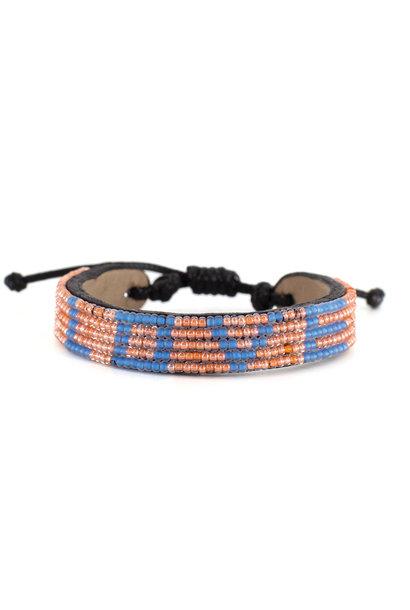 5 row LOVE Bracelet Peach/Sea Blue