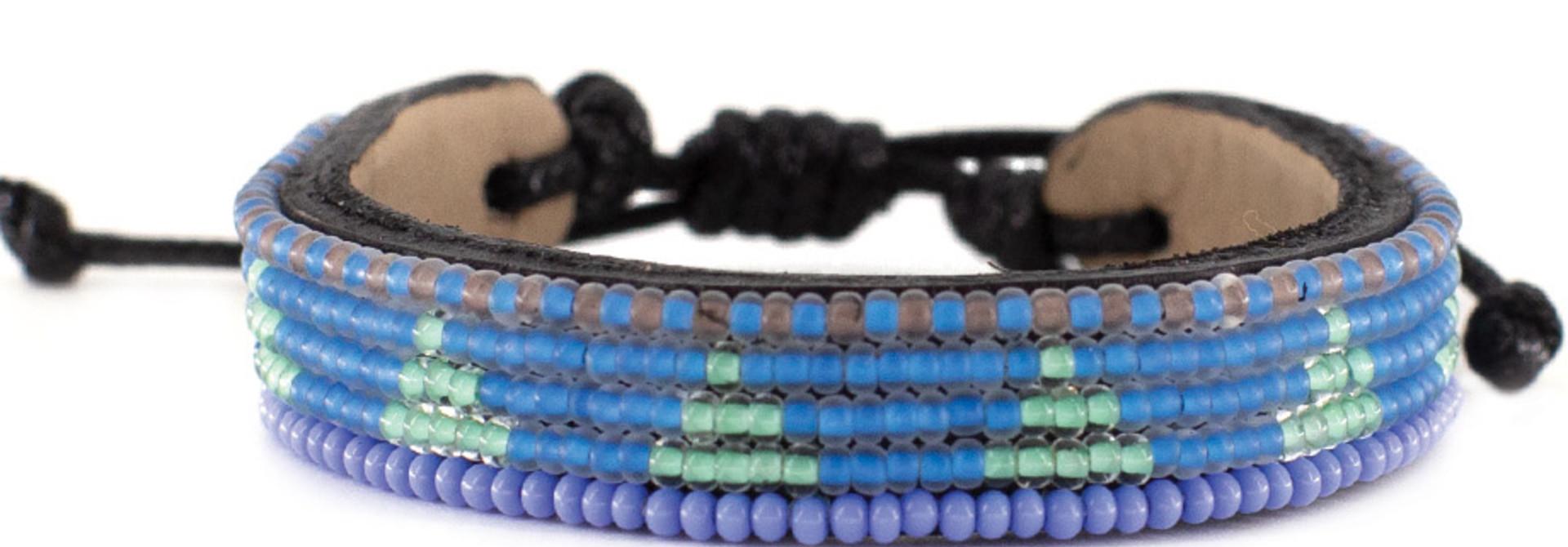 5 row Piramidi Bracelet SeaBlue/Turquoise
