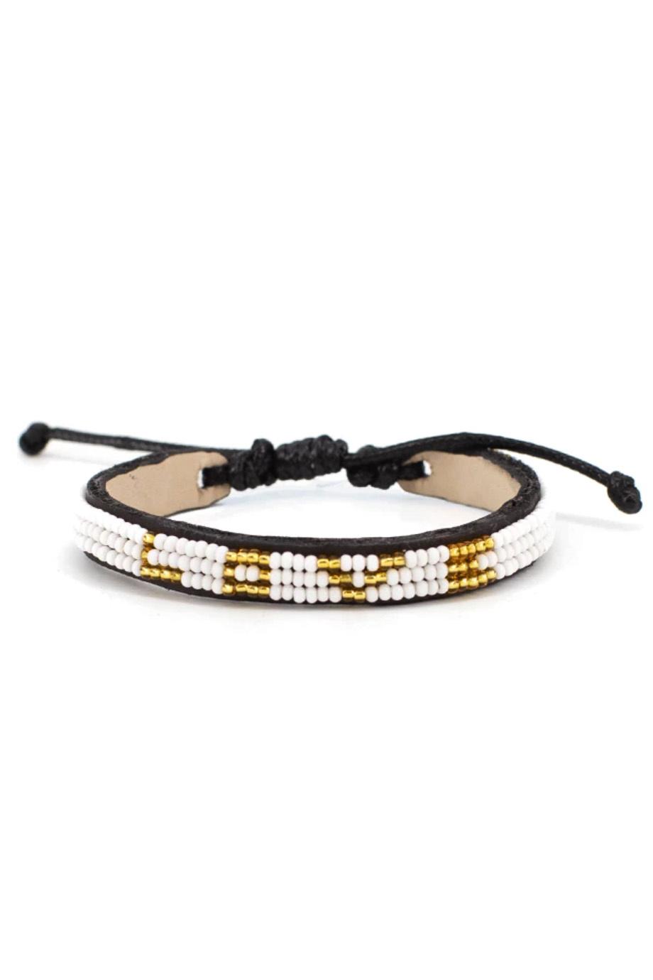 3 Row LOVE Bracelet White/Gold-1