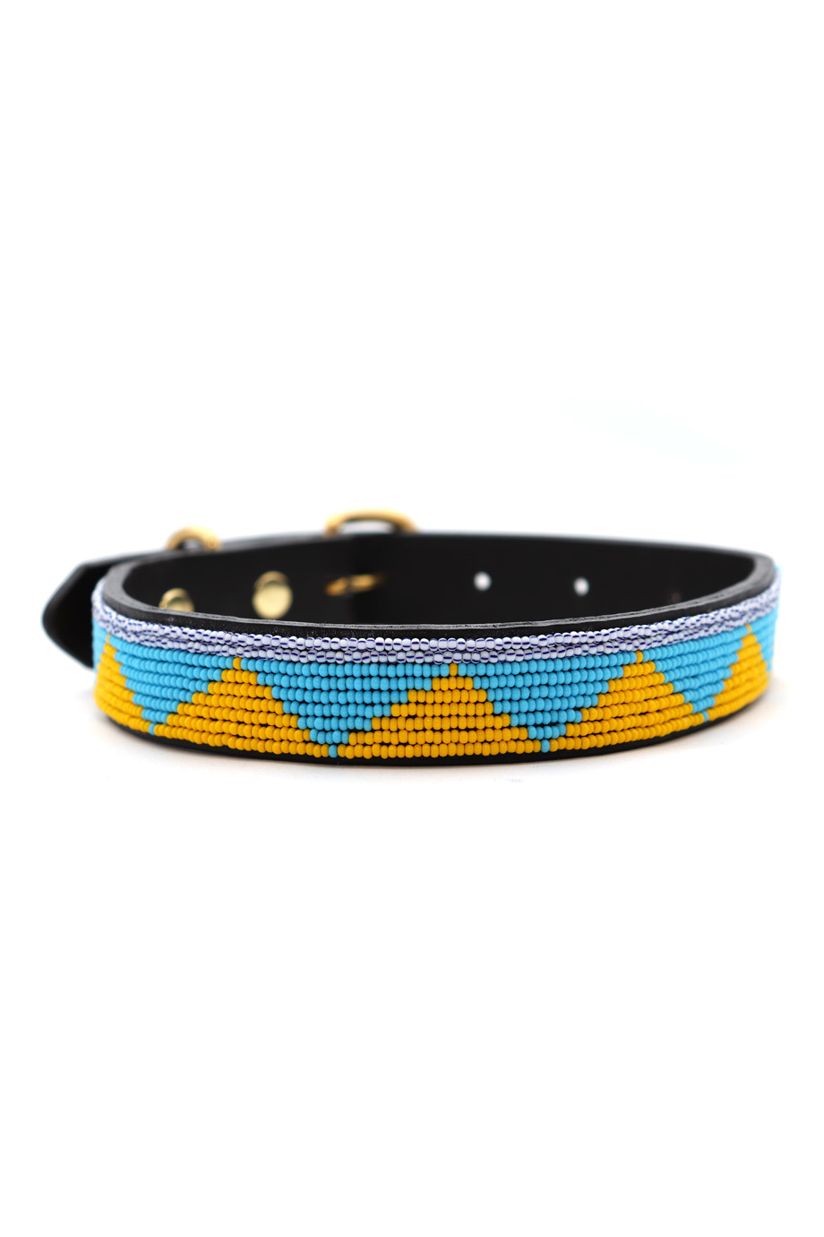 Pet Collar Spring Yellow/Blue Medium-1