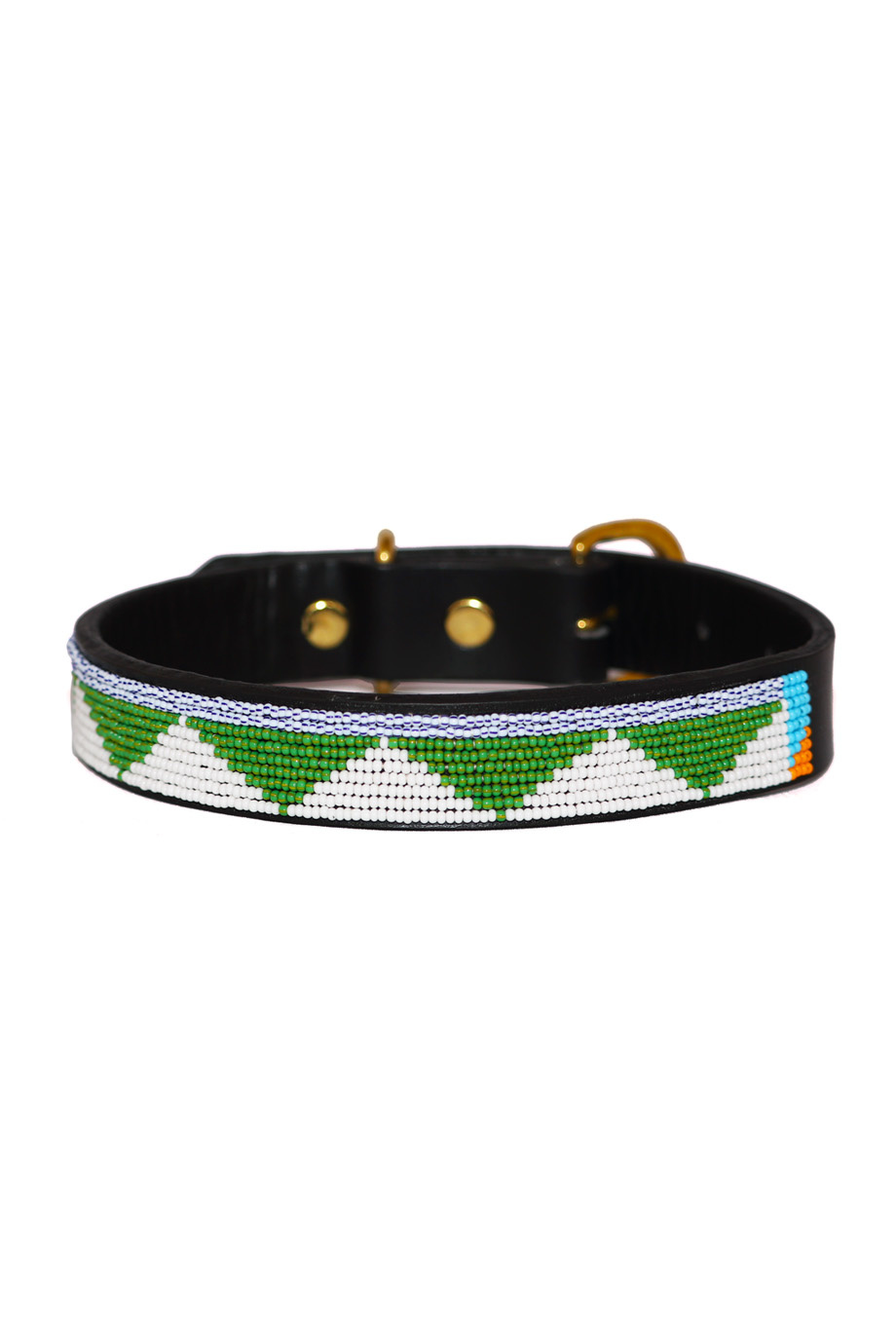 Pet Collar Tribal Green Large-1