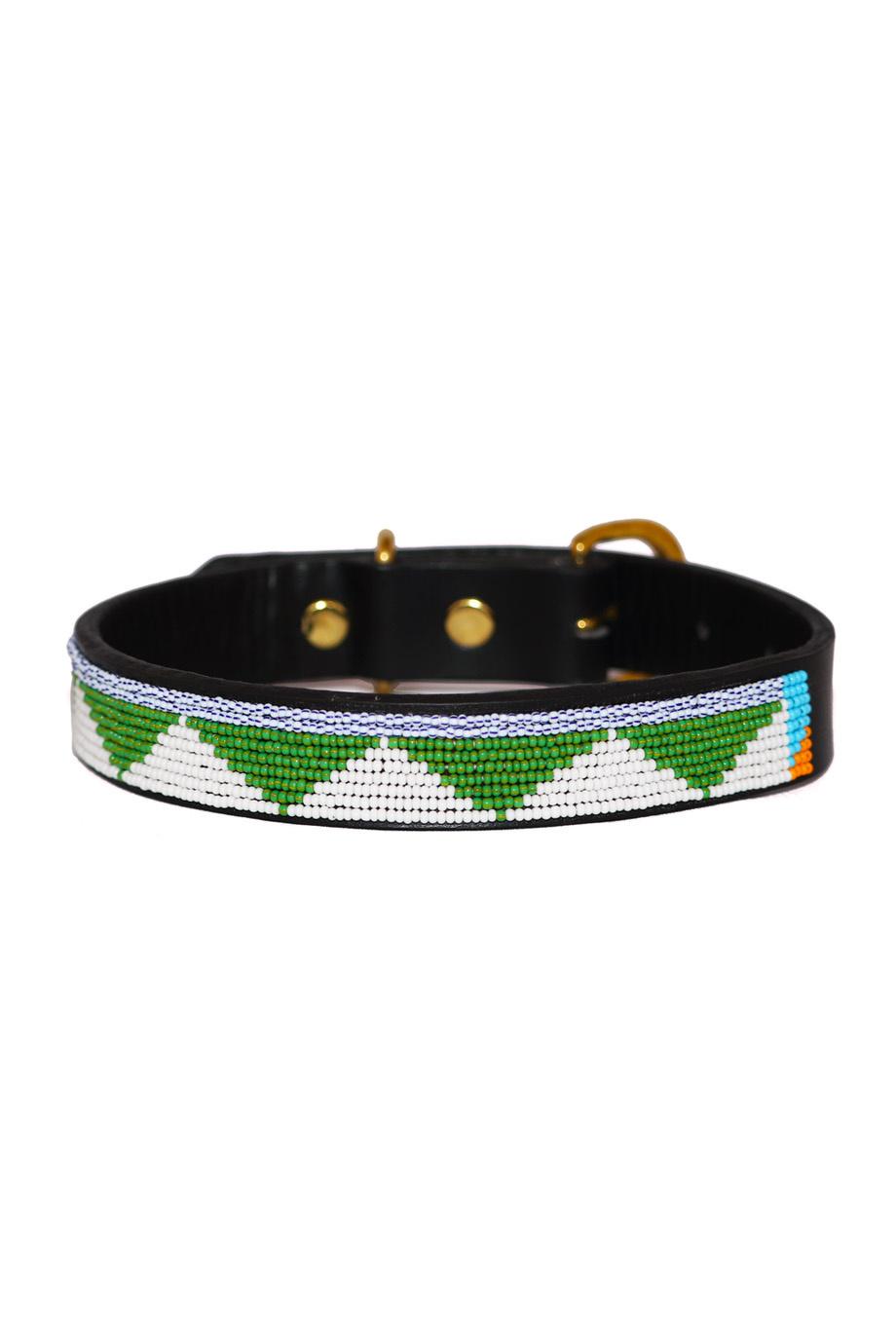 Pet Collar Tribal Green Medium-1