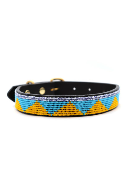 Pet Collar Spring Yellow/Blue Small