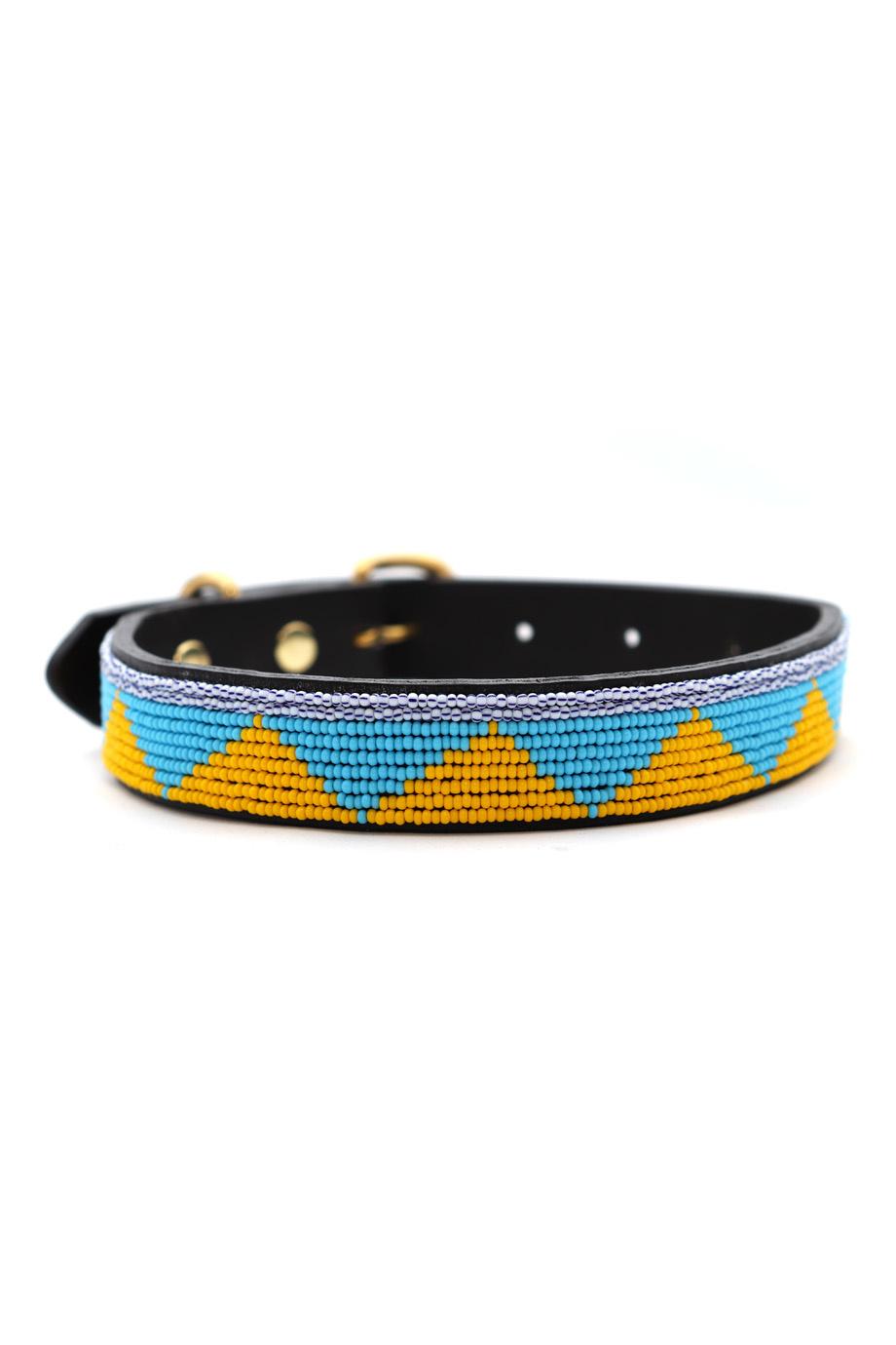 Pet Collar Spring Yellow/Blue Small-1