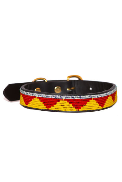 Pet Collar Spring Yellow/Red Medium