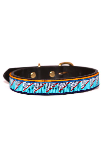 Pet Collar Summer Blue/Grey Large