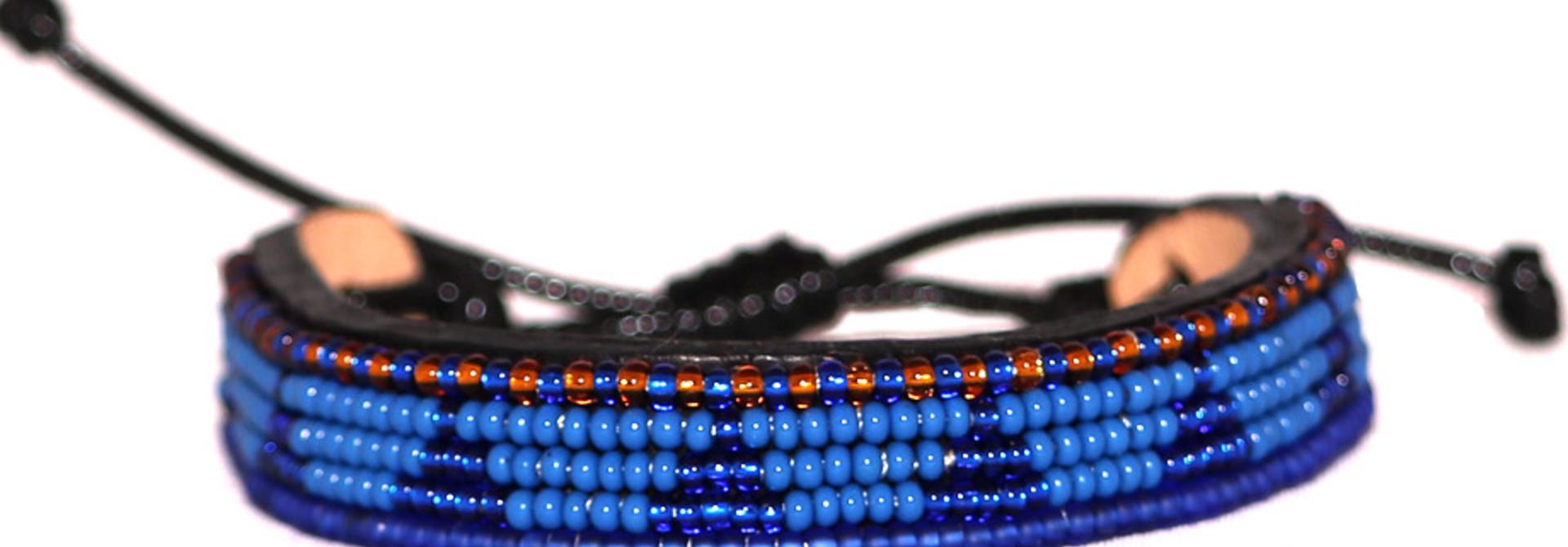 5 row Piramidi Bracelet Blue/Blue